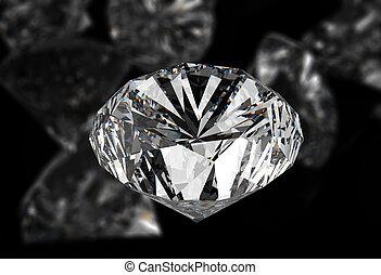diamonds on black surface - diamonds 3d on black surface