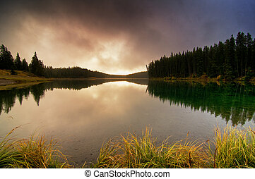Sunrise over Johnson Lake - Banff National Park, AB, Canada