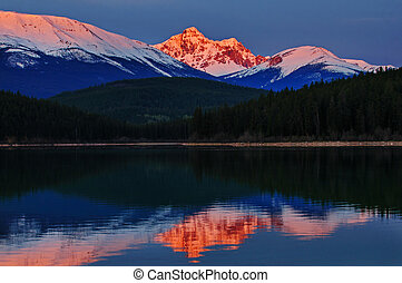 Alpineglow sunrise - View from Patricia Lake, Jasper...