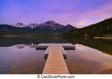 Pyramid Lake and Mountain - Jasper National Park, Alberta,...