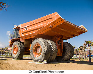 Dumper displayed at the entrance to a quarry in the Negev...