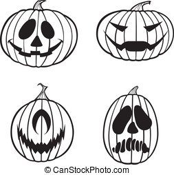 Black and White Jack O Lanterns - Here are four vector...