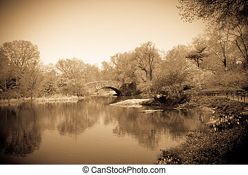 Vintage Central Park - Central Park in New York City with...