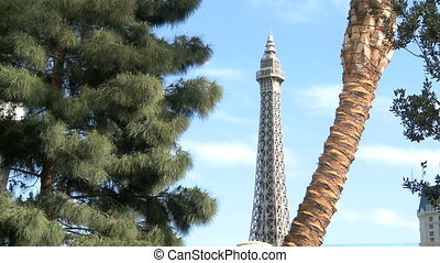 Las Vegas Dayview Palms, trees and the Eiffel Tower Replica...
