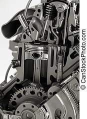 Internal combustion engine - Cut section of automotive four...