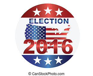 Election 2016 Button Illustration - Election 2016 with USA...