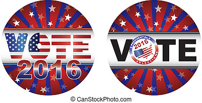 Vote 2016 Presidential Election Buttons Illustration - Vote...