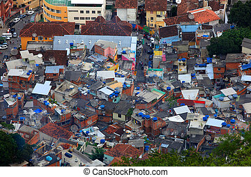 Favela in the middle of Rio de Janerio city
