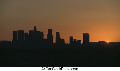 Los Angeles Skyline Sunrise - Sunrise Timelapse with heat...