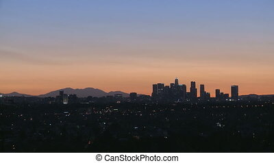 Los Angeles Skyline Sunrise - Sunrise of Downtown Los...