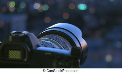 Camera with Citylights - Camera with city lights of Los...