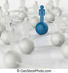 3d white and blue human social network and leadership - 3d...
