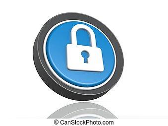 Lock round icon in blue