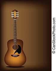 Beautiful Acoustic Guitar on Dark B - Music Instrument, An...