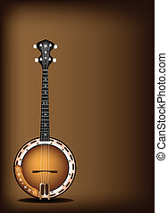 A Beautiful Banjo on Dark Brown Bac - Music Instrument, An...