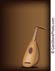 A Beautiful Antique Lute on Dark Br - Music Instrument, An...