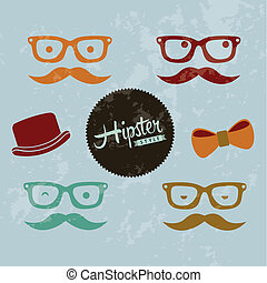 hipster - cartoon human faces with hipster elements. vector...