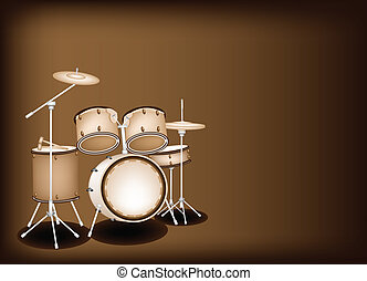 A Beautiful Drum Kit on Dark Brown - Music Instrument, An...