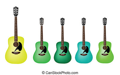 Beautiful Green Colors of Acoustic - Music Instrument, An...