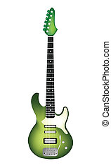A Beautiful Green Electric Guitar o - Music Instrument, An...