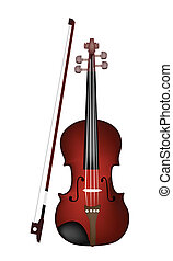 A Beautiful Brown Violin on White B - Music Instrument, An...