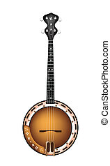 A Beautiful Brown Banjo on White Ba - Music Instrument, An...