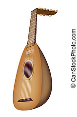 A Beautiful Antique Lute on White B - Music Instrument, An...