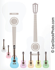 A Set of Colorful Classical Guitars