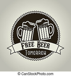 free beer tomorrow illustration, vintage style. vector...