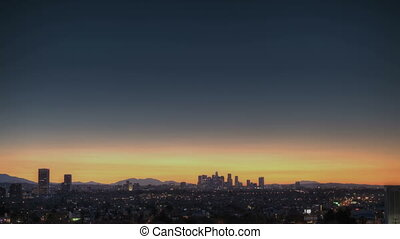 Los Angeles Skyline Sunrise - Sunrise Timelapse of Downtown...