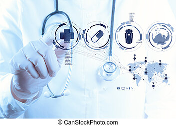 Medicine doctor hand working with modern computer interface...