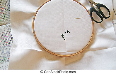 Cross Stitching, Start Up - The embroidery hoop with canvas,...