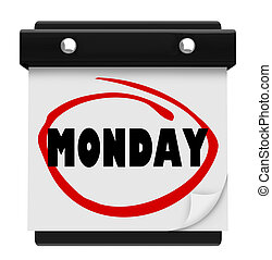 Monday Wall Calendar Word Start Week of Work or School - A...