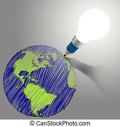 pencil creative light bulb head drawing the earth as concept