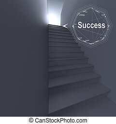 stairway to success as business concept - 3d stairway to...