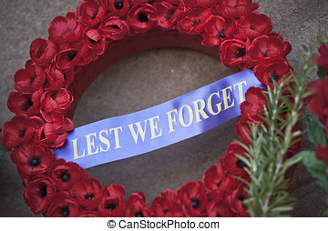 memorial wreath with poppies - traditional Remembrance...