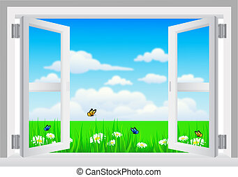 Open White Window with Scenery - vector illustration of Open...
