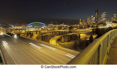 Seattle Sunset Interstate Traffic - Timelapse of Interstate...