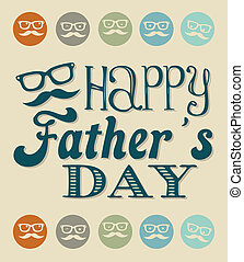 fathers day card, retro style vector illustration