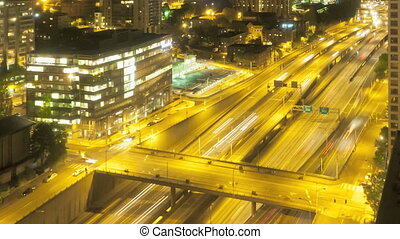 Seattle Nightime Interstate Traffic - Timelapse of...