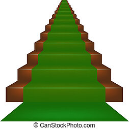 Stairs covered with green carpet on white background