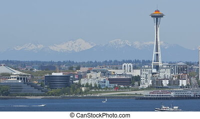 Seattle Mountains with Space Needle - Timelapse of Seattle...