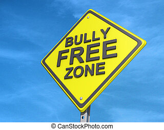 Bully Free Zone Yield Sign - A yield road sign with a Bully...