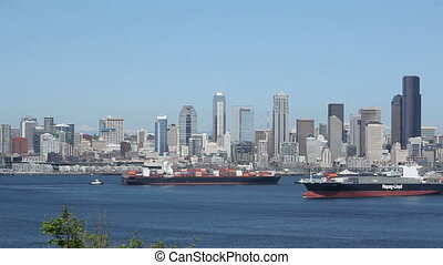 Seattle Skyline Cargo Freighters - Seattle, cargo freighter,...
