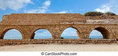 Aqueduct - Ruins of a Roman aqueduct in Caesarea, Israel