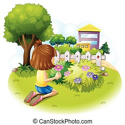 A girl at the garden - Illustration of a girl at the garden...