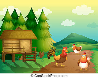 A farm with chickens and a native house - Illustration of a...
