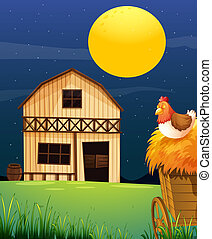 A wooden farm barn - Illustration of a wooden farm barn