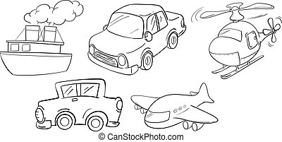 Different kinds of transportations - Illustration of the...