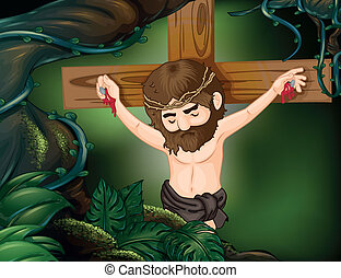 A cross at the rainforest - Illustration of a cross at the...